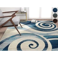Well Woven Blue/Brown/Multicolor Modern Abstract Swirls Area Rug (7'10 x 9'10)