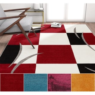 Well Woven Modern Geometric Squares Area Rug