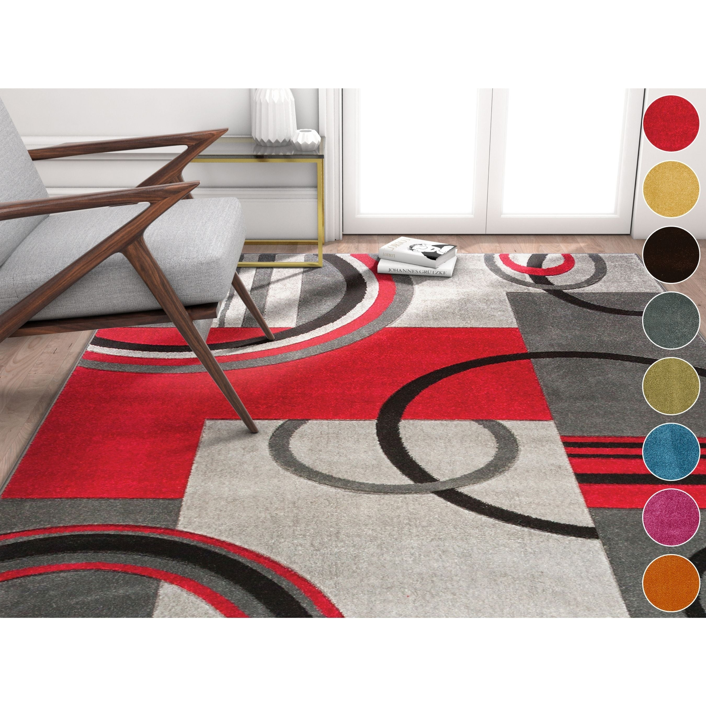 Well Woven Modern Geometric Arcs Shapes Area Rug - 53 x 73 (Orange - White)