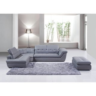 Lux Grey Leather L-shape Sectional