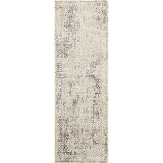 """Traditional Distressed Ivory/ Grey Floral Runner Rug - 2'7"""" x 8' Runner"""