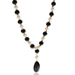 """PearLustre by Imperial 18"""" 14KY FWP and Black Onyx """"Y"""" Necklace"""
