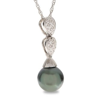 """PearLustre by Imperial 18"""" 14KW Tahitian Pearl and Diamond Pendant"""