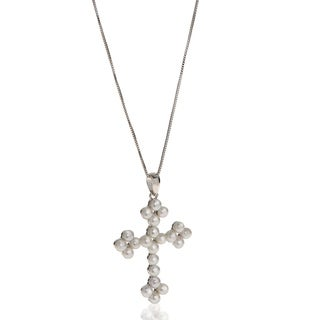 """PearLustre by Imperial 18"""" Sterling Silver FWP Cross Pendant"""