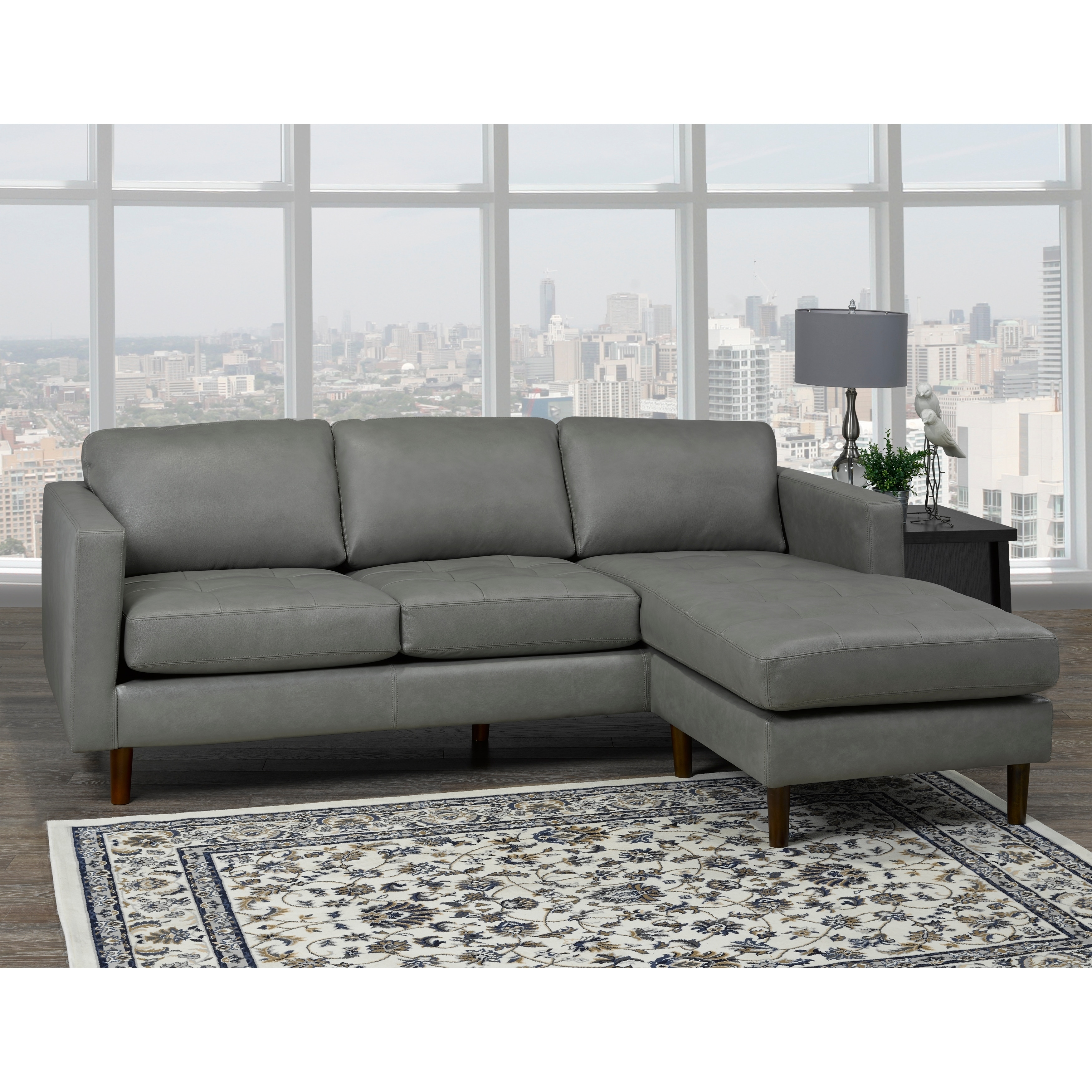 Des Mid Century Modern Grey Top Grain Leather Tufted Sectional Sofa 88 X 38 X 35 Overstock 20892272