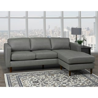 Des Mid Century Modern Grey Top Grain Leather Tufted Sectional Sofa - 88 x 38 x 35