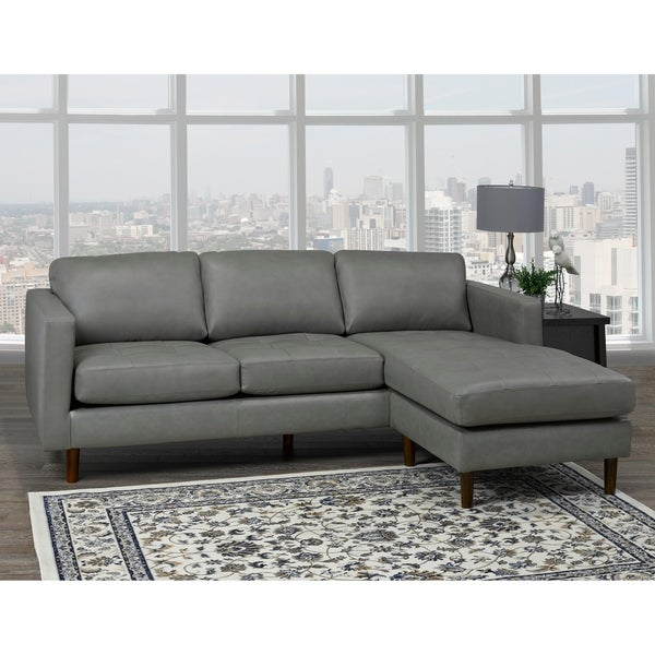Shop Des Mid Century Modern Grey Top Grain Leather Tufted ...