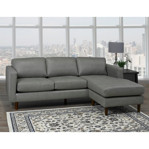 Des Mid Century Modern Grey Top Grain Leather Tufted Sectional Sofa