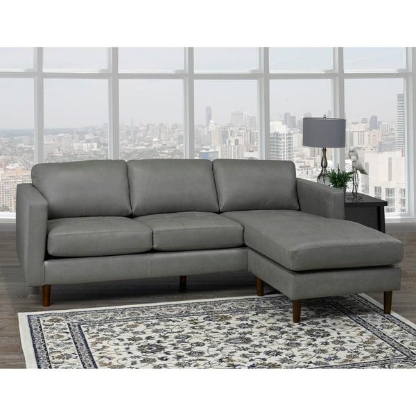 Shop Des Mid Century Modern Grey Top Grain Leather Tufted