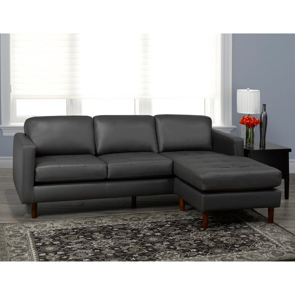 Lou Mid Century Modern Dark Grey Top Grain Leather Tufted Sectional Sofa