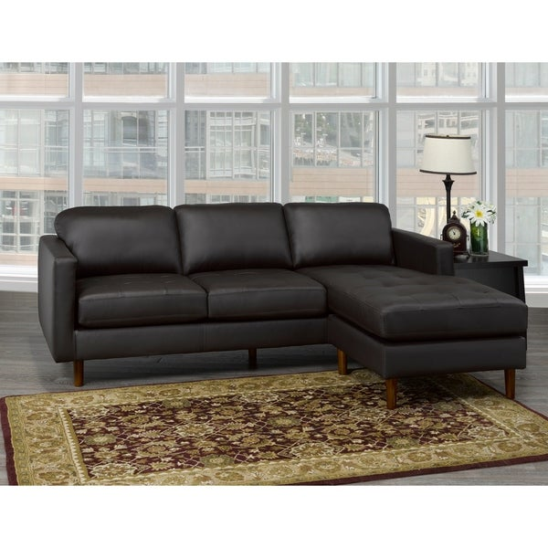 Mack Mid Century Modern Chocolate Brown Top Grain Leather Tufted Sectional Sofa