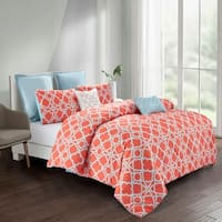Wonder Home Adam 7PC  Printed Comforter Set,Queen,Orange