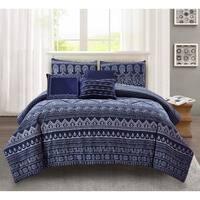 Wonder Home Jameson 6PC Cotton Print Comforter Set,Queen,Blue