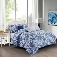 Elana Cotton Comforter Set in Blue