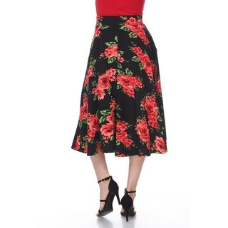 White Mark Women's Flared Floral Midi Skirt with pockets