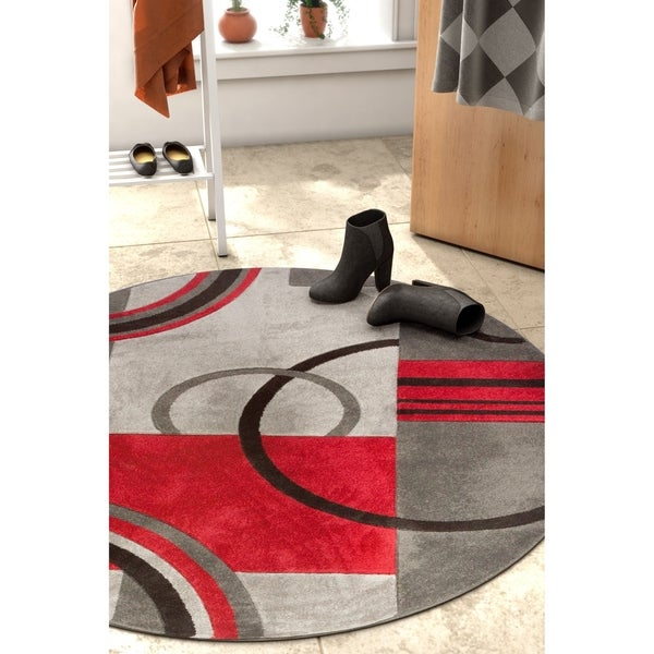 Well Woven Modern Geometric Arcs And Shapes Round Rug - 5'3