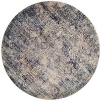 Traditional Mist/ Blue Distressed Round Rug - 9'6 x 9'6