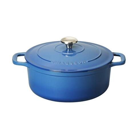 Chasseur 6.25-quart Blue French Enameled Cast Iron Round Dutch Oven {Box : 13 x 13 x 8 Wt : 18}