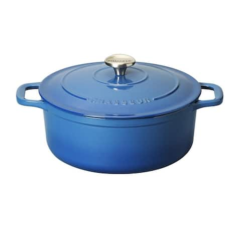 Chasseur 5.25-quart Blue French Enameled Cast Iron Round Dutch Oven