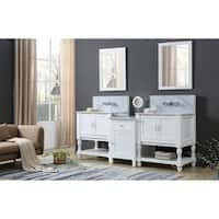 Turnleg Spa Premium 83 In. Bath and Makeup Hybrid Vanity in White
