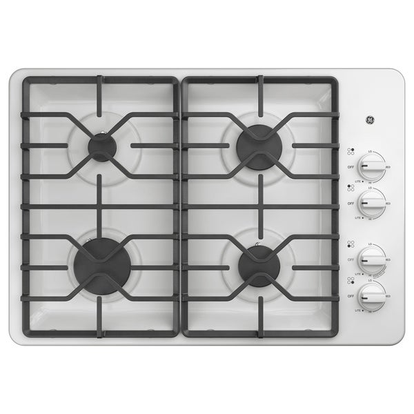 GE 30 IN Right Hand Control Gas Cooktop in White