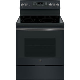 GE 30 IN Free Standing 5 Element Electric Convection Range with Sabbath Mode in Black Slate