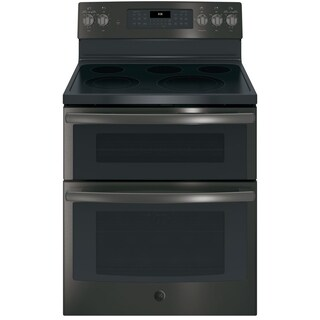 GE 30 IN Free Standing Electric Double Oven Convection Range in Black Stainless