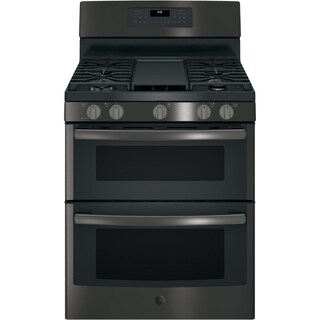 GE 30 IN Free Standing Gas Double Oven Convection Range in Black Stainless