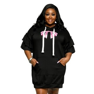 Xehar Womens Plus Size Casual Sexy Bow Graphic Hooded Short Dress