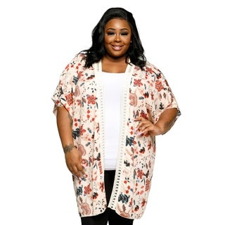 Xehar Womens Plus Size Casual Open Front Floral Kimono Cardigan (3 options available)