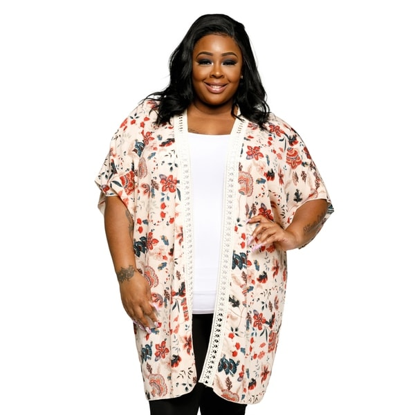 ccb9345bb Shop Xehar Womens Plus Size Casual Open Front Floral Kimono Cardigan ...
