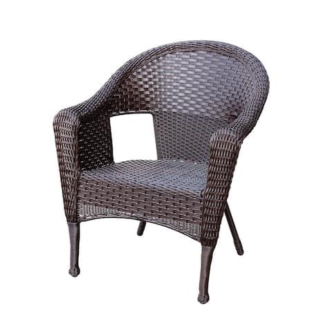 Jeco Clark Espresso Metal/Resin Wicker Single Chair