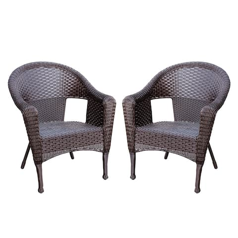 Set of 2 Espresso Resin Wicker Clark Single Chair without Cushion