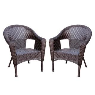 Clark Espresso Resin Wicker Single Chair (Set of 2)