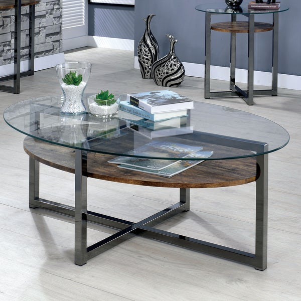 Furniture Of America Darion Industrial Glass Top Coffee Table