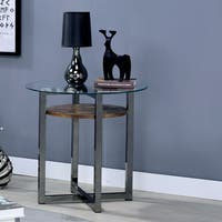 Furniture of America Darion Industrial Glass Top End Table