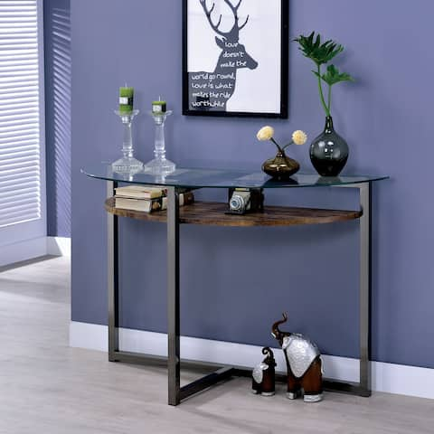 Furniture of America Yarl Industrial Black Metal 1-shelf Console Table