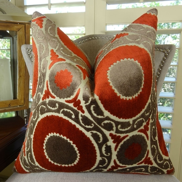 Thomas Collection Red Brown Taupe Velvet Designer Throw Pillow, Handmade in USA, 11050D