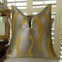 Thomas Collection Grey Mustard Gold Textured Throw Pillow, Handmade in USA, 11023D
