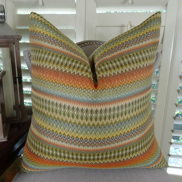 Thomas Collection Orange Green Blue Zig Zag Striped Throw Pillow, Handmade in USA, 11042S