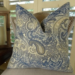 Thomas Collection Navy Cream Taupe Paisley Throw Pillow For Sofa, Handmade in USA, 11083S