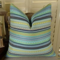 Thomas Collection Turquoise Navy Taupe Yellow Moroccan Theme Pillow, Handmade in USA, 11129S