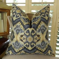 Thomas Collection Zig Zag Ikat Navy Blue Tan Luxury Couch Pillow, Handmade in USA, 11082S