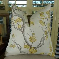 Thomas Collection White Gray Yellow Japanese Blossom Throw Pillow, Handmade in USA, 11115D
