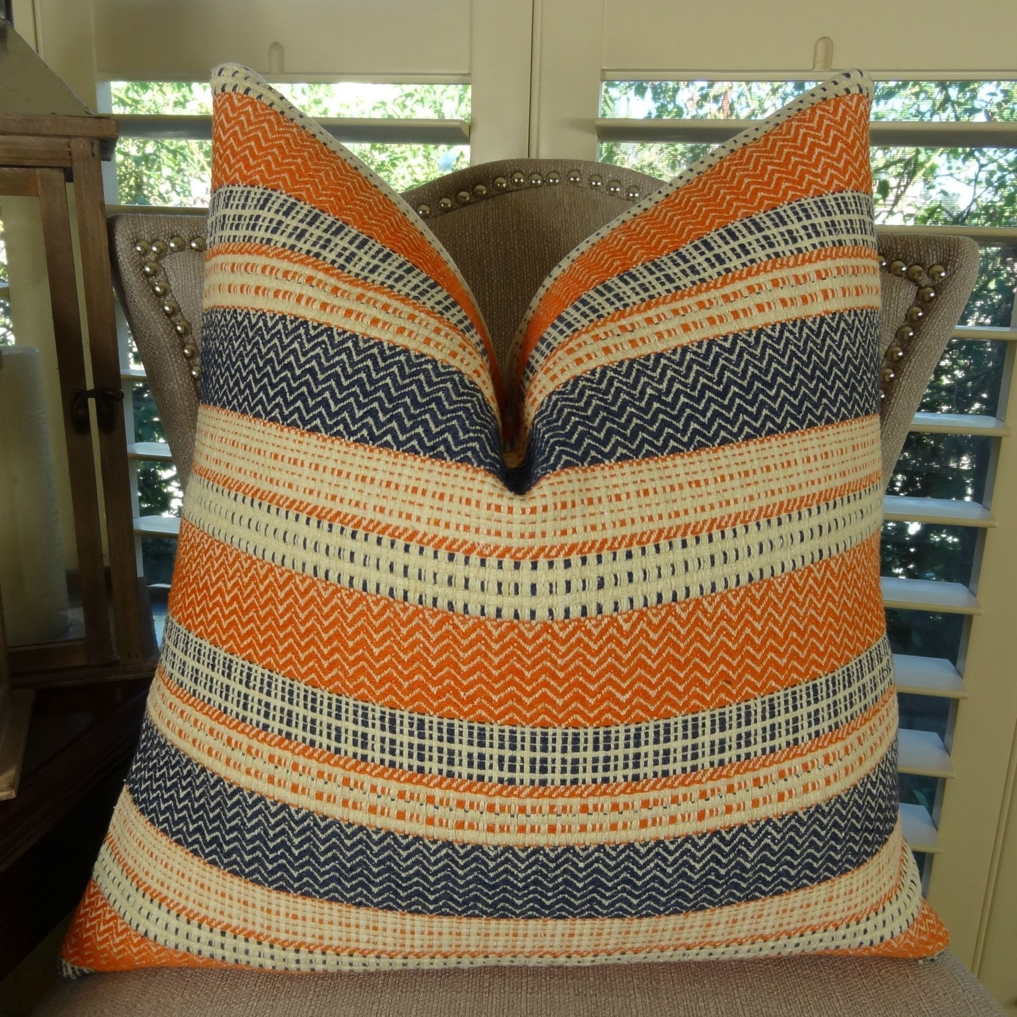 Pillows 18 Inch Indoor Outdoor Modern Geometric Damask In Orange Or Navy Blue Throw Pillow Set Of 2