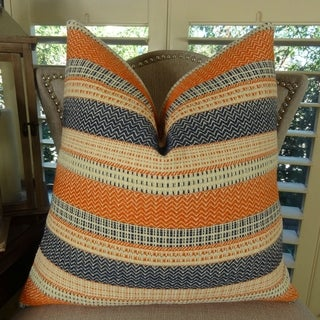 Thomas Collection Cayenne Orange Navy Cream Striped Woven Throw Pillow, Handmade in USA, 11166D