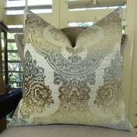 Thomas Collection White Brown Light Blue Rustic Throw Pillow, Handmade in USA, 11111S