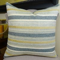 Thomas Collection Teal Cream Yellow Striped Accent Pillow, Handmade in USA, 11154S