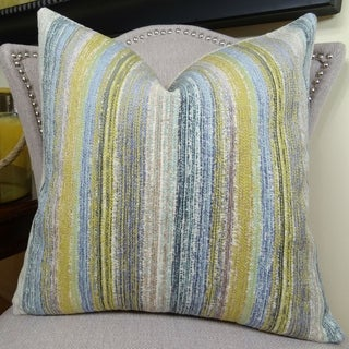 Thomas Collection Citrine Yellow Lavender Blue Cream Couch Throw Pillow, Handmade in USA, 11160S