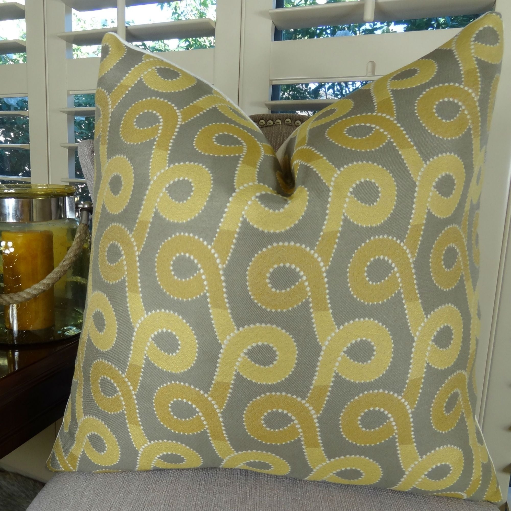 Thomas Collection Lemon Zest Gray Swirl Designer Luxury Couch Pillow, Handmade in USA, 11262D (Large - Square - double sided 20 x 20)